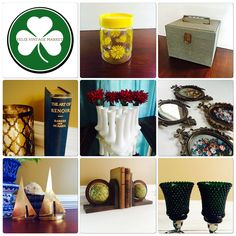 Pin now & Shop later. Pyrex Gemco Daisy Jar, Vintage Industrial Storage Box, Art of Renoir Vintage Book c1940s, Matching Randall Milk Glass Vase of 10, Brass Filigree Mirror & Frame Set Made in Italy, Brass Sailboat Decor, Old World Rotating Bookends, Emerald Green Votive Cup Sets @ Felix Vintage Market.