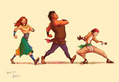 Simba, Timon and Pumba as people. The artist pulled it off so well!