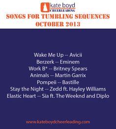 Songs for Cheer Music, October 2013 Cheer Music, Bastille Pompeii, Elastic Heart, Avicii, Hayley Williams, Stay The Night, Dance Music, Eminem, Britney Spears