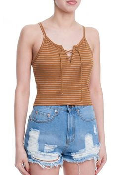 Fitted crop top with light heather grey stripes and a front lace up detail. Perfect little top to wear with high waisted denim or skirt.  Chelsea Cami by la di da dee. Clothing - Tops - Sleeveless Clothing - Tops - Crop Tops Williamsburg Brooklyn New York City