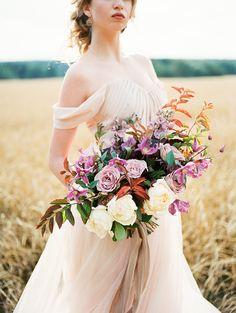 Blush Wedding Gown,shades of lilac color for #autumn wedding   Photo by Igor Kovchegin   Fab Mood