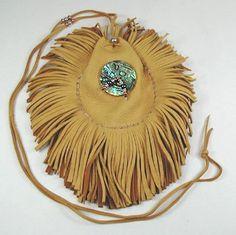Beautiful Abalone Spirit Medicine Bag by Apache artist Cynthia Whitehawk. Double fringed - luxurious.