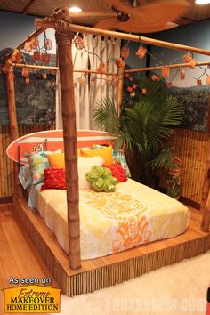 """Bamboo faux wood panels on the walls and bed platform create a Tiki-style bedroom for the Prewitt-Brewer project from """"Extreme Makeover: Home Edition."""""""