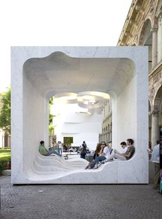 "10 Forward-Thinking Buildings by Snøhetta Designed for the ""Mutant Architecture and Design"" presentation by interiors magazine Interni at Milan's 2011 Design Week, this open-air marble cube features a hollow interior with an undulating floor. Cultural Architecture, Baroque Architecture, Landscape Architecture, Interior Architecture, Open Space Architecture, Installation Architecture, Pavilion Architecture, Concept Architecture, Sustainable Architecture"
