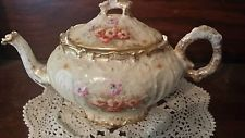 Antique French Limoge Porcelain Teapot with Flowers
