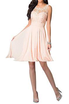 Shoppen Sie Missdressy Damen Elegant Chiffon Charmeuse Applikation Rundkragen Aermellos Lang Abendkleider Partykleider Festkleider Tanzenkleider-38-Pink auf Amazon.de:Kleider