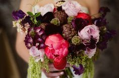 Dark + Romantic wedding flowers- purple and red bridal bouquet