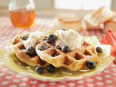 Biscuit Waffles with Lemon Cream, Lemon Syrup and Blueberries recipe from Trisha Yearwood via Food Network