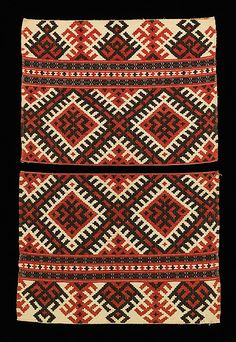 Textile Culture:Russian x 11 in. x cm) ~ notice the similarities between these abstract geometric designs and ones found on Navaho handwoven blankets Textile Patterns, Textile Design, Textile Art, Print Patterns, Weaving Patterns, Cultural Patterns, Russian Embroidery, Ukraine, Interior Rugs