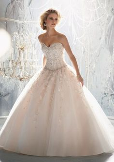 Elegent Bridal ball gown wedding dresses custom sequins train Tulle Embroidery