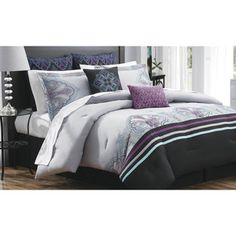 king bedding sets deep purple grey | ... Black Purple Blue Gray 12 PC King Size Comforter Bed Set New | eBay