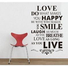 Check out this DIY Happy Live Laugh Love Smile Inspirational Quote Wall Paper Art Vinyl Decal Sticker that I found on Ziftit. Make You Happy Quotes, Love Smile Quotes, This Is Us Quotes, Are You Happy, Quote Wall, Vinyl Wall Quotes, Wall Sayings, Wall Stickers Home, Wall Stickers Murals