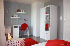 Image result for red and white bedroom