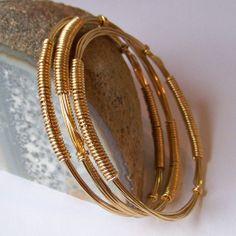 Brass Bangles - Brass Bracelets - Stackable Bangles - 3 Brass Bound Bangles - DECO - Wire Wrapped Bangle Bracelets