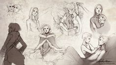 """""""Sketches VII"""" by charlie 140588 (Charlie Bowater) on DeviantArt.com.....my favorite is the bottom right hand corner :)"""