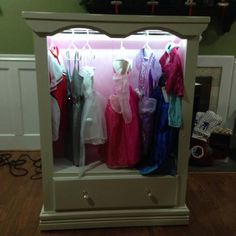 Dress Up Closet With Lights   Repurposed Dresser SO COOL. And My Amazing  Son Is Willing To Build Anything I Need For The Girls. Bravo To Zack.