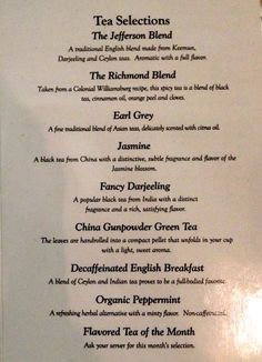 tea menu at the Jefferson hotel | LiveDoGrow