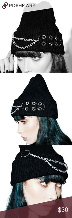 "*COMING SOON* Piercing Screams Beanie Arriving this week.  Stay warm in style this winter in this Piercing Screams Knit beanie. Black knit with a double chain on the front and rings and rivets to the side. Goes perfectly with ""Chains of Darkness"" long sleeve tee also in my closet. Plus, get 10% off when you buy 2 items, 15% off 3, 20% off 4 and pay only 1 shipping charge! DollsXKill Accessories Hats"