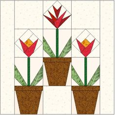 Spring Time Blooms – Free Quilt Block Pattern
