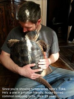 This affectionate pet snapping turtle in my fish tank FB group. Disclaimer: don't try this at home probably.