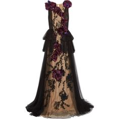 Marchesa Organza-appliquéd embellished tulle gown ($7,995) ❤ liked on Polyvore featuring dresses, gowns, black, cocktail dresses, sequin evening gowns, sequin gown, floral evening dresses and beaded cocktail dress