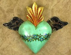 Mexican Sacred Heart With Wings Tattoo Heart Art, Love Heart, Heart With Wings Tattoo, Heart Wings, Tattoo Hearts, Tin Art, Heart Of Jesus, Mexican Folk Art, Mexican Crafts
