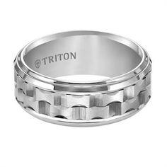 9mm White Tungsten Bevel Step Edge Matrix Comfort Fit Wedding Band by Triton