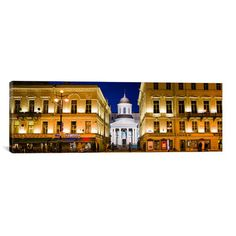 "East Urban Home Panoramic Buildings in a City Lit up at Night, Nevskiy Prospekt, St. Petersburg, Russia Photographic Print on Canvas Size: 20"" H x ..."