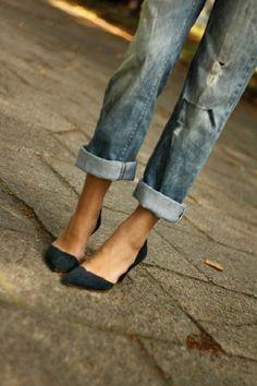 cuffed denim and little heels