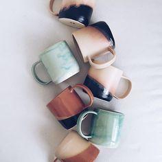 Arrow + Sage // mugs! For hot chocolate tea or coffee Coffee Shop, Coffee Cups, Tea Cups, Kitchenware, Tableware, Painted Mugs, Cute Mugs, Pretty Mugs, Ceramic Pottery