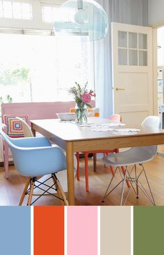 Pastel palette with Bright accent Pastel Interior, Interior Paint Colors, Interior Design, Kitchen Dining, Dining Table, Dining Room, House Essentials, Scandinavian Home, Furniture Inspiration