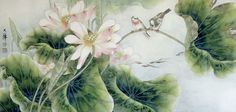 Chinese Ink Painting | Chinese art painting of birds by Lou. Gorgeous color the details are the best