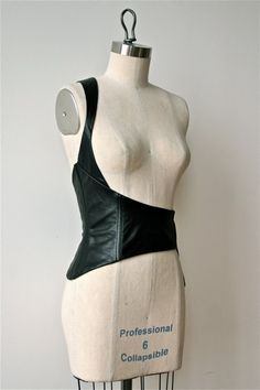 Underwear/Outerwear : Asymmetrical Black Leather Corselet Belt || ZoeHong via Etsy