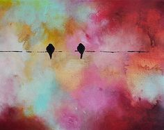 Original Abstract Painting Birds on a WIre por AbstractArtM en Etsy