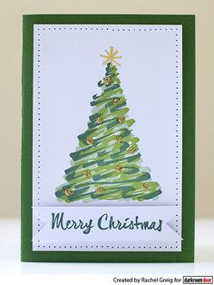 Christmas Card by Rachel Greig using Darkroom Door Christmas Trees Rubber Stamp Set
