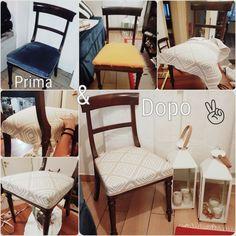 Lavoro di squadra a casa Brigandì-DeLuca #reupholster #chair #diy #home #decor #ritappezzare #sedie #lowcost #cheap #hobby #tempolibero #cosedicasa