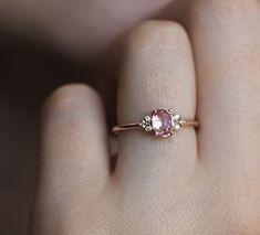 Peach Sapphire Ring Diamond Ring Engagement Ring Wedding