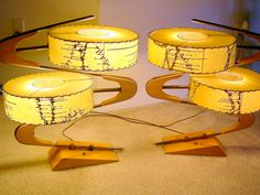 Killer! Majestic Z lamps with blonde finish. I would just faint from a glimpse across the room....