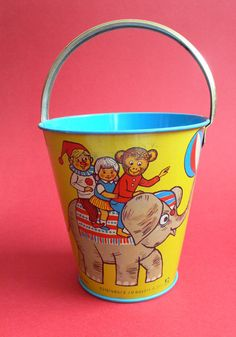 Vintage DDR Tinplate CIRCUS Sand Pail 1960's - Germany