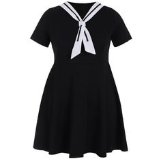Plus Size Tied Skater Sailor Dress ($20) ❤ liked on Polyvore featuring dresses, plus size day dresses, plus size skater dress, women plus size dresses, sailor dress and plus size sailor dress