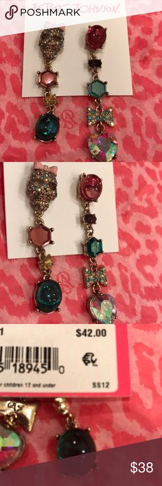Only Today! NWT Betsey Johnson☠️ skull earrings NWT Betsey Johnson crystal stone skull face drop earrings. Beautiful gems and designs. No Trades. Betsey Johnson Jewelry Earrings