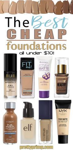 You don't have to drop a lot of money to get a great foundation! Check out this list of the best drugstore foundations for oily skin, dry skin, and anything inbetween! These foundations are the perfect dupes for higher end products. Best Cheap Foundation, Best Drugstore Foundation, Foundation Dupes, Foundation For Oily Skin, Best Drugstore Makeup, Best Makeup Products, Beauty Products, Lush Products, Best Walmart Foundation