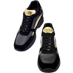 Women's Elevator Sneakers - Upper in shiny black calfskin and suede calf leather, lining in soft goatskin, lightweight high quality rubber outsole anti-slip. Hand Made in Italy. Elevator shoes, tall shoes, height increasing shoes