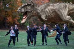 groomsmen running from T-Rex! funny wedding picture