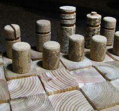 cork chess peices