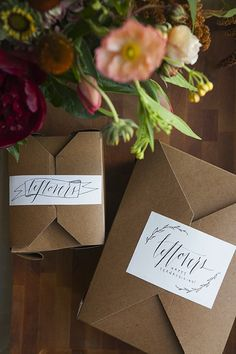 Skip doggy bags + let guests take home Thanksgiving leftovers in cardboard boxes with printed labels.