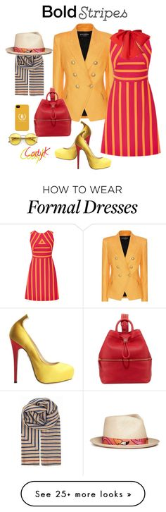 """""""Bold Stripes"""" by cody-k on Polyvore featuring Balmain, Charlotte Olympia, Tory Burch, Wildfox, BeckSöndergaard and My Bob"""