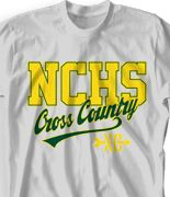 IZA DESIGN Cross Country Shirts.  Custom School Cross Country Team T Shirt - College Town desn-525c1.  Visit us at www.izadesign.com for MORE cross country team tshirt designs.