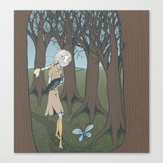 The Girl and the Crow Stretched Canvas by Lindha - $85.00