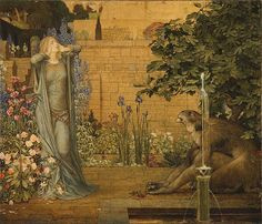 """""""Beauty and the Beast"""", 1904, by John Dickson Batten (British, 1860-1932) and Joseph Edward Southall (British, 1861-1944). This painting depicts the tale of Beauty and The Beast. Beauty recoils in horror as she first lays eyes on the beast. In the story, her fear gives way to pity, then love, which breaks the spell. The beast turns back into a handsome prince and they live happily ever after."""